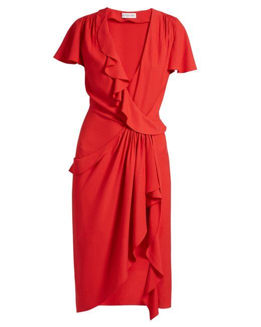 Altuzarra | Red Mesilla Ruffled Silk-blend Dress | Lyst