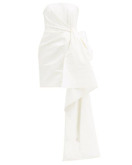 Carolina Herrera ドレープ バンドゥ シルクファイユミニドレス White