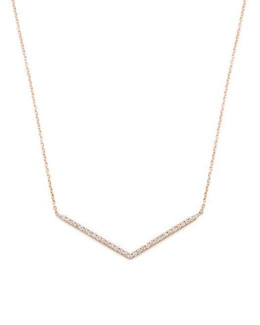 Diane Kordas - Metallic Diamond & Rose-gold Chevron Necklace - Lyst