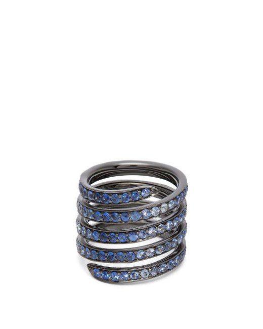 Lynn Ban - Metallic - Ombré Sapphire & Rhodium Silver Coil Ring - Womens - Blue - Lyst