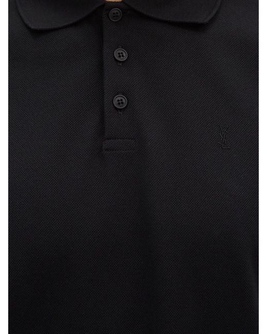 メンズ Saint Laurent コットンポロシャツ Black