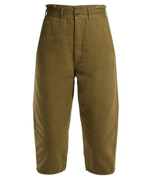 Chimala - Green - High Rise Cotton Cropped Trousers - Womens - Khaki - Lyst