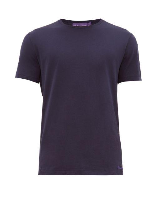 メンズ Ralph Lauren Purple Label ロゴ ピマコットンライル Tシャツ Blue