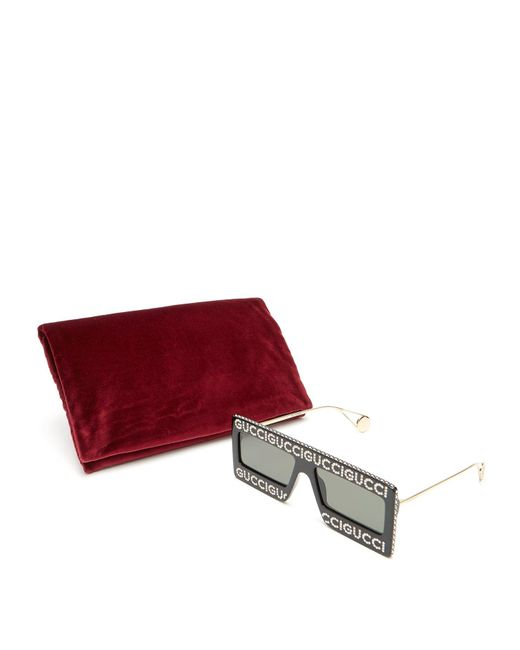 5f5a58de87 Men's Black Hollywood Forever Rectangle Acetate Sunglasses