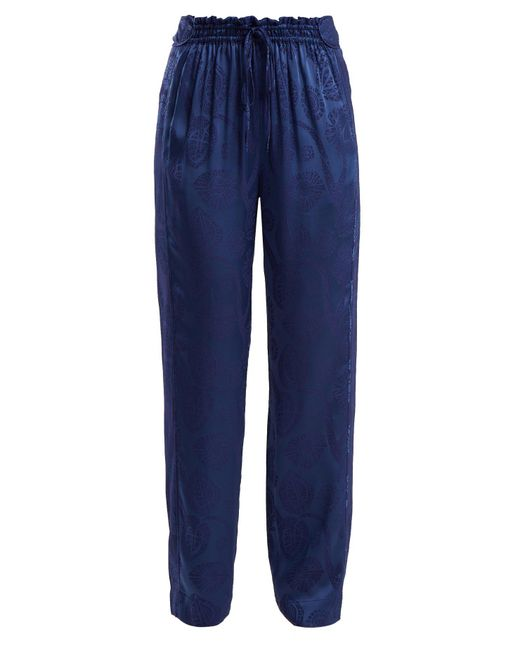 Peter Pilotto Blue High Rise Floral Jacquard Satin Trousers