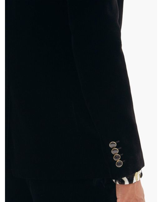 メンズ Saint Laurent ベルベットコーデュロイ シングルジャケット Black