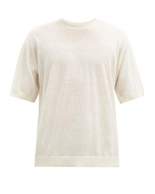 メンズ Raey オーバーサイズ ファインニット リネンコットンtシャツ Multicolor