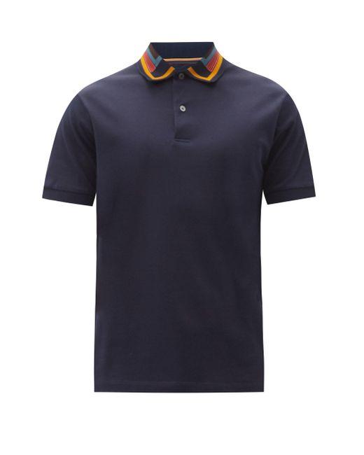 メンズ Paul Smith コントラストカラー コットンピケ ポロシャツ Blue