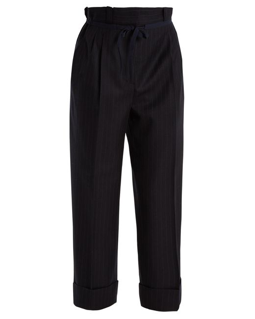 Acne   Black Tien Pinstriped Gathered-waist Wool Trousers   Lyst