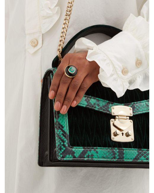 Retrouvai Green Lollipop 14kt Gold, Onyx & Emerald Ring