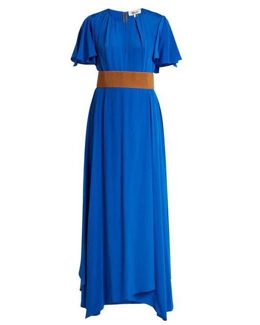 Ruffle-sleeved silk-crepe gown Diane Von F BHi67SY