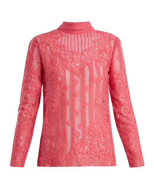 Valentino - Pink High Neck Chantilly Lace Blouse - Lyst