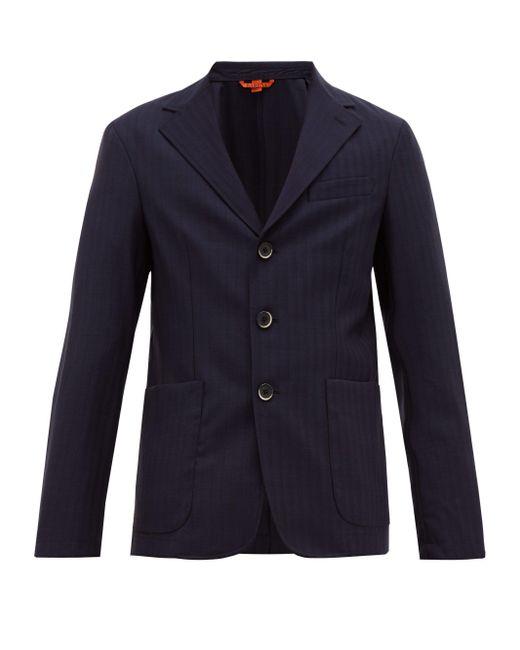 メンズ Barena Piero ピンストライプ シングルジャケット Blue