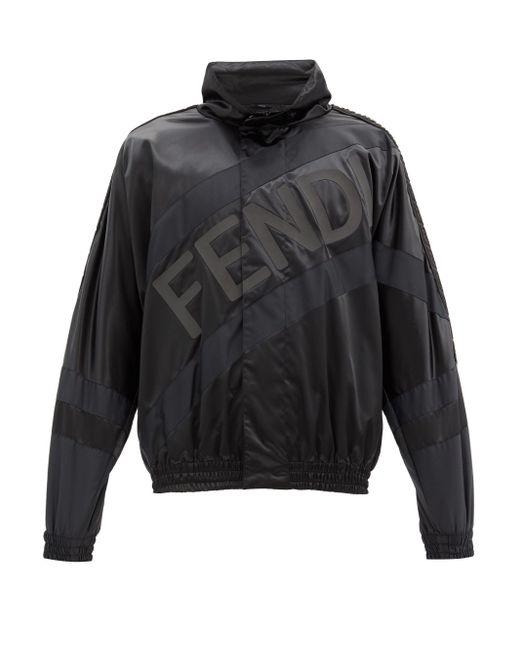 メンズ Fendi ロゴプリント サテンジャケット Black