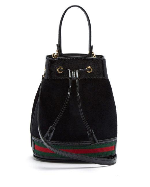 Sac seau en daim Ophidia Gucci en coloris Black