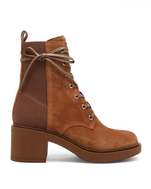 Gianvito Rossi スエード レースアップブーツ 45 Brown