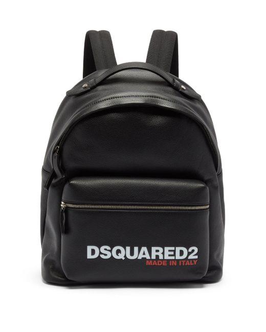 メンズ DSquared² ロゴ グレインレザー バックパック Black
