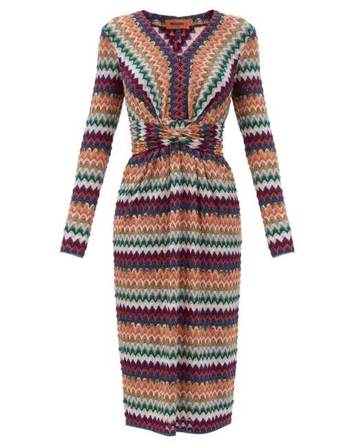 Missoni グリッターシェブロン ウールブレンドドレス Multicolor