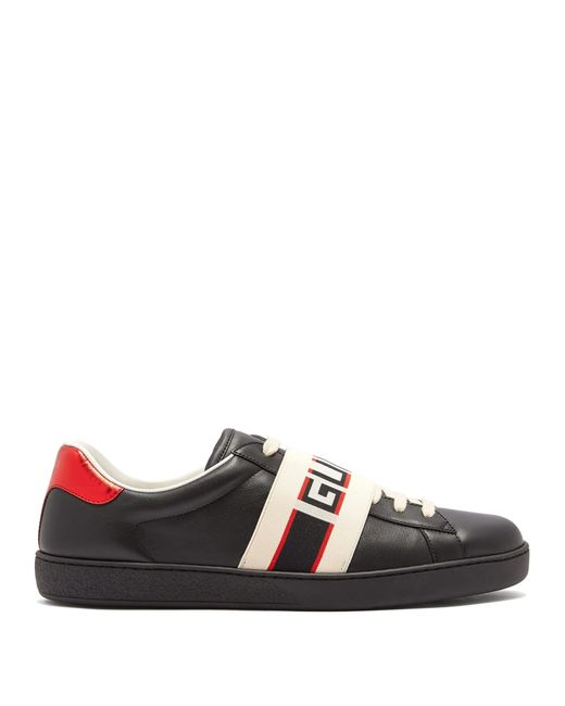 9103f957f880e Gucci New Ace Low Top Leather Trainers in Black for Men - Save 1% - Lyst