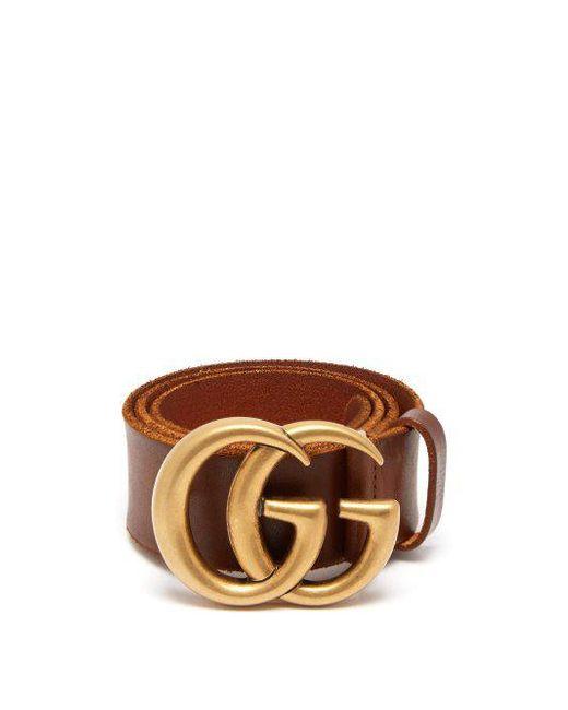 a1e420825 Gucci - Brown Gg-logo 4cm Leather Belt - Lyst ...