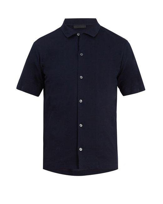 Prada | Blue Spread-collar Cotton-piqué Polo Shirt for Men | Lyst