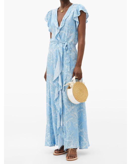 Melissa Odabash ブリアナ パーム マキシラップドレス Blue