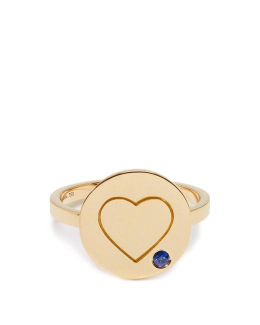 Aurelie Bidermann | Metallic Heart Sapphire & Yellow-gold Ring | Lyst
