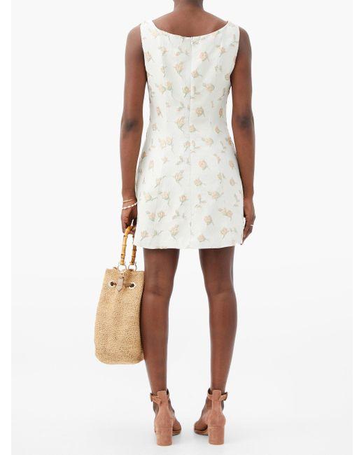 Gioia Bini ノエミ フローラルブロケードドレス White