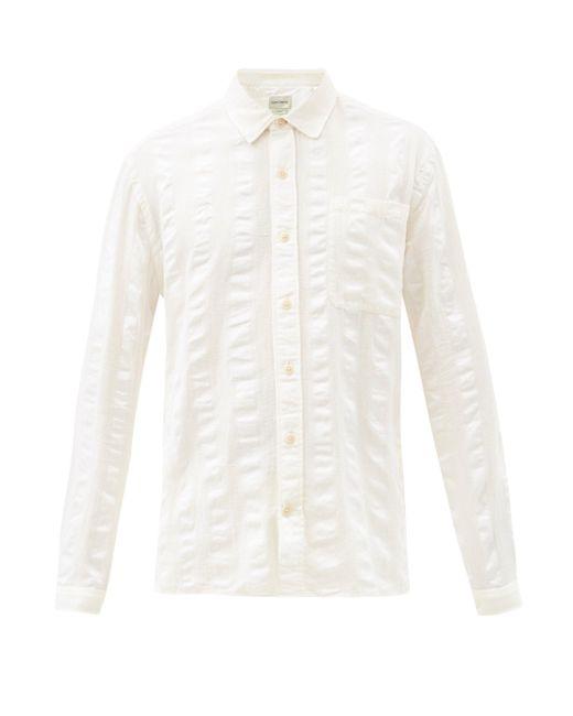 メンズ Oliver Spencer エリントン ストライプ オーガニックコットンシャツ White