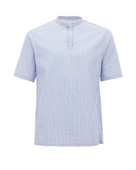 メンズ Officine Generale Officine Générale トミ バンドカラー ストライプコットンシャツ Blue