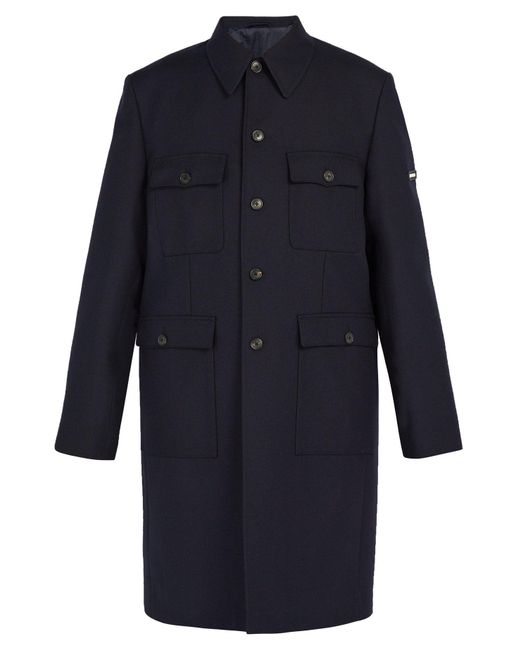 Balenciaga - Blue Military Single Breasted Wool Coat for Men - Lyst