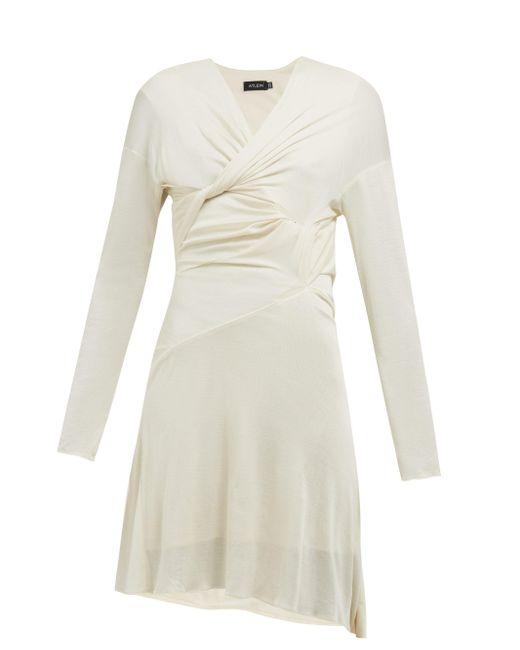 Atlein ドレープ シルクジャージードレス Natural