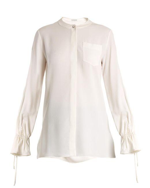 Altuzarra | White Christina Fluted-cuff Silk-blend Crepe Blouse | Lyst