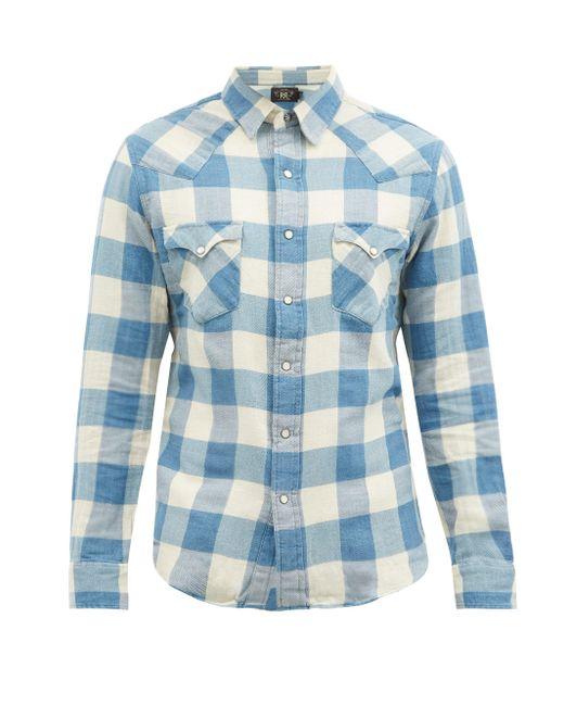 メンズ RRL バッファローチェック コットンリネンポプリンシャツ Blue