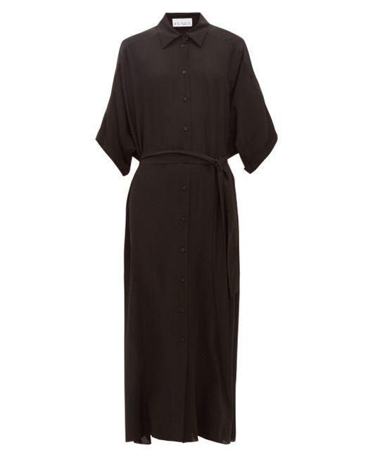 Raey ドルマンスリーブ シルクシャツドレス Black