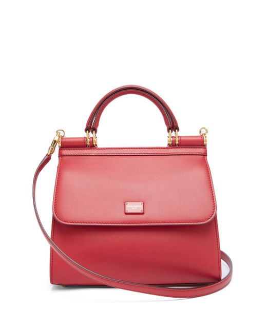 Dolce & Gabbana Red Sicily Small Leather Bag
