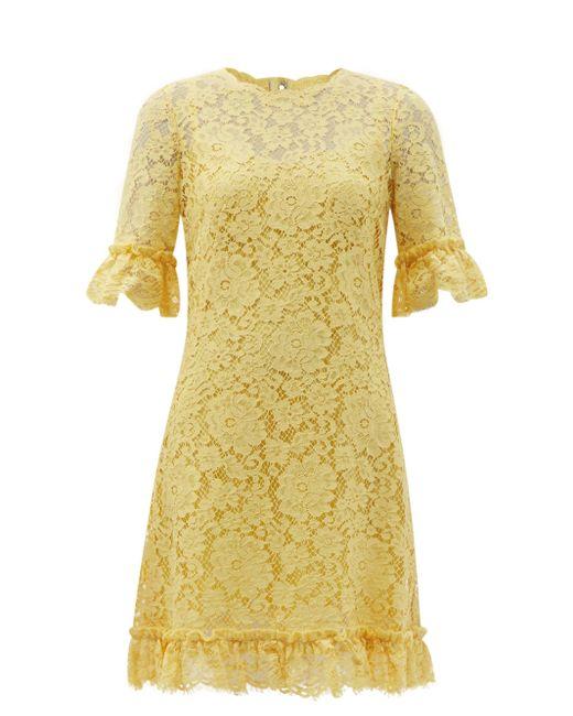 Dolce & Gabbana コルドネットレース シフトドレス Yellow