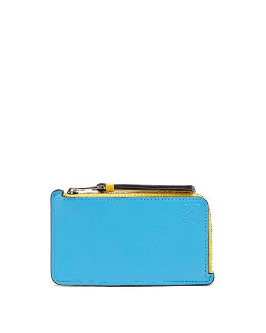 Loewe アナグラム ファスナーレザーカードケース Blue