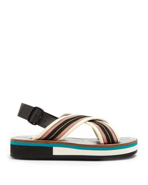 Marni Slingback Leather-Trimmed Sandals clearance discount discount authentic online sale Inexpensive free shipping lowest price free shipping really jk1um