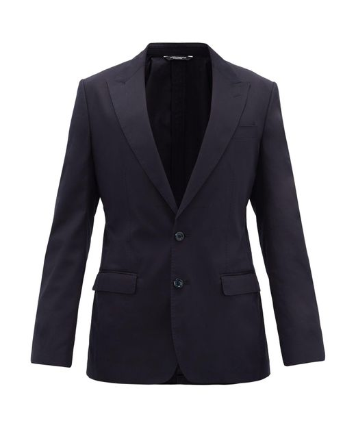 メンズ Dolce & Gabbana コットンシルク シングルジャケット Blue