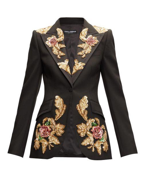 Dolce & Gabbana スパンコール ウールブレンドジャケット Black