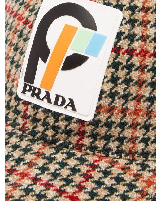 a8ca340b02a ... Prada - Green Houndstooth Wool Tweed Cap - Lyst ...