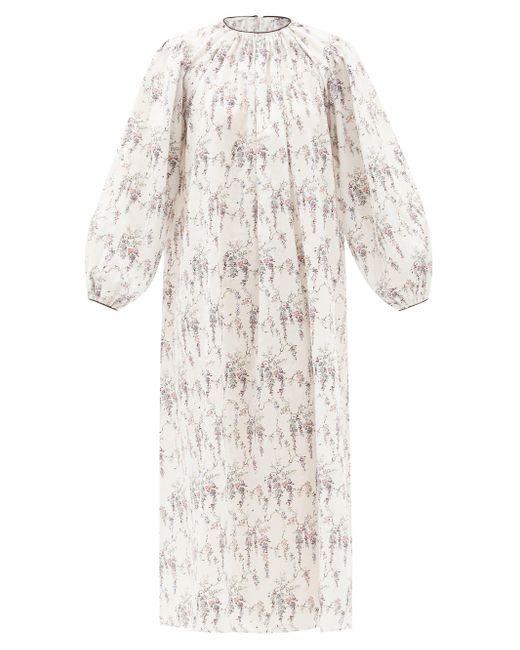 Emilia Wickstead テオドラ フローラル コットンナイトドレス White
