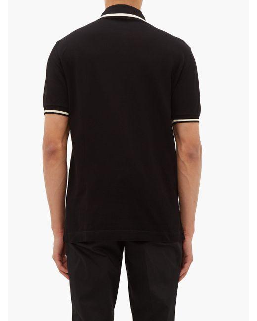 メンズ Dolce & Gabbana モノグラムエンブロイダリー コットンピケポロシャツ Black