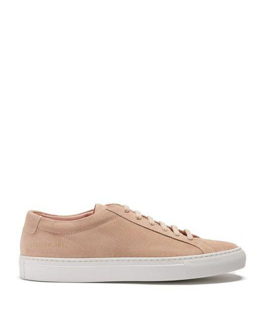 Common Projects - Pink Original Achilles Low-top Suede Trainers - Lyst