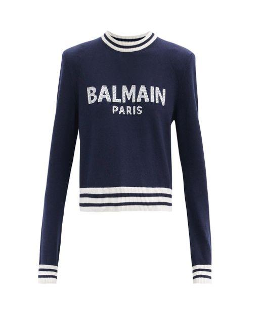 Balmain クロップド ロゴジャカードセーター Blue