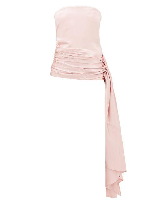 Marina Moscone ストラップレス ウールシルクサテントップ Pink