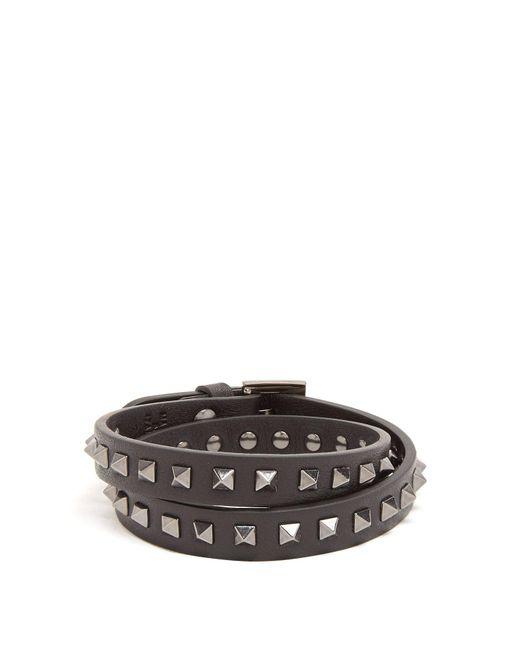 Valentino - Black Wraparound Rockstud-embellished Leather Bracelet for Men - Lyst