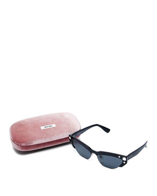 defd1077a752 ... Miu Miu - Black Cat Eye Acetate Sunglasses - Lyst ...