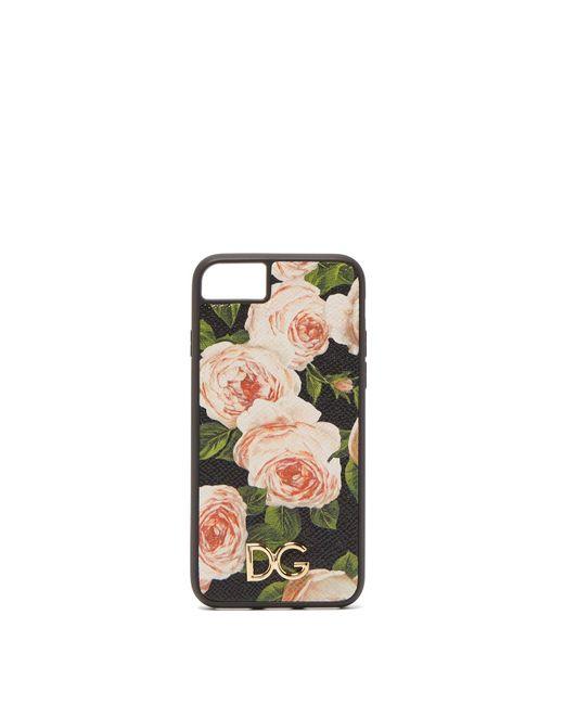 Dolce & Gabbana Multicolor Rose Print Leather Iphone® 7 & 8 Case
